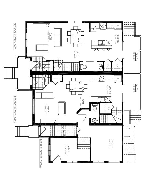 Triplex à vendre Mascouche - 2483-2487, ch. Ste-Marie Plan du Rez-de-Chaussée