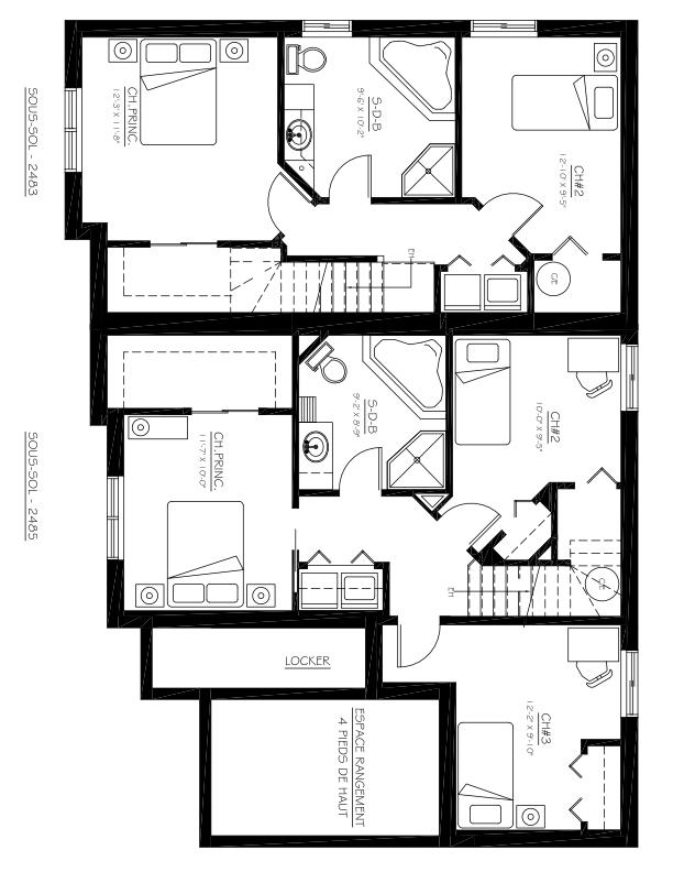 Triplex à vendre Mascouche - 2483-2487, ch. Ste-Marie Plan du sous-sol